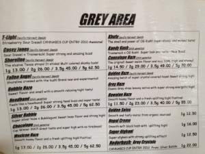 The Grey Area Amsterdam - Menu